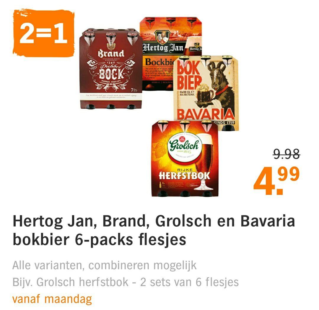 Hertog Jan, Grolsch, Brand en Bavaria bokbier 2=1 @AH + Jan Linders