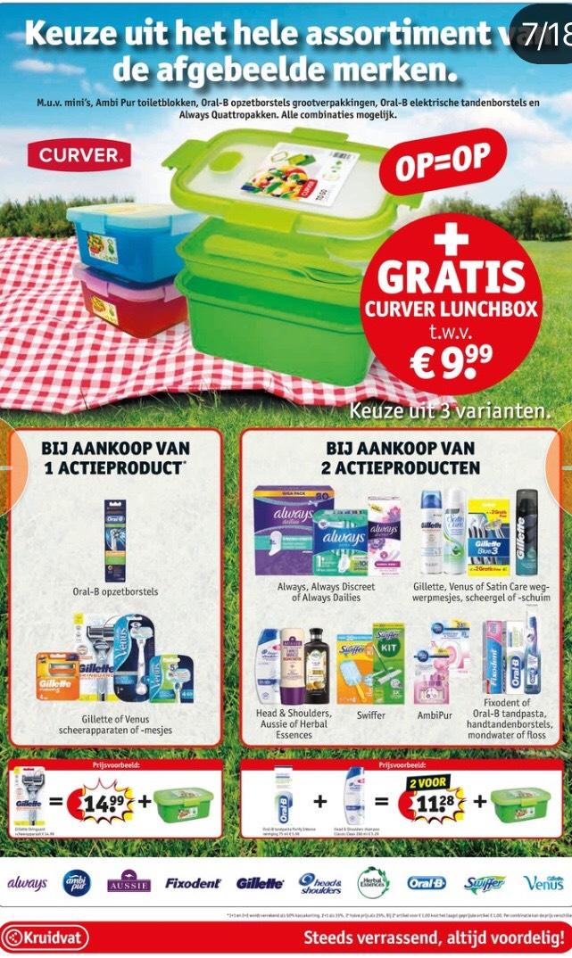 Gratis curver lunchbox bij aankoop van 1 of 2 actie producten bij Kruidvat