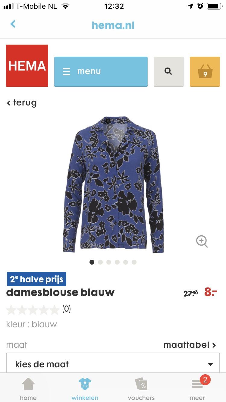 damesblouse blauw normaal €27.50 per stuk, nu 2 voor €12.00
