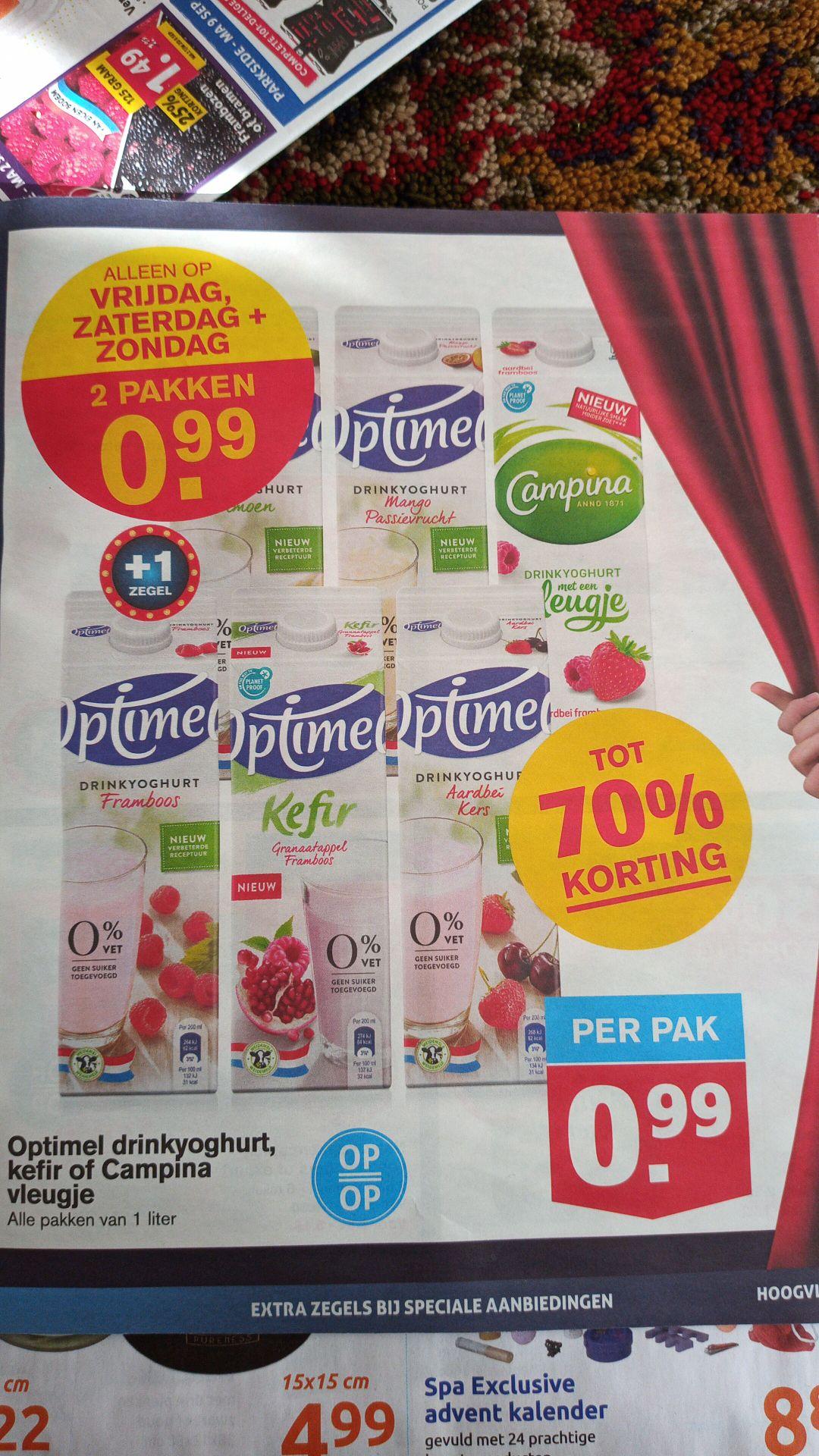 [Hoogvliet] Optimel drinkyoghurt, kefir of Campina vleugje 2 pakken €0,99 (vr, za, zo)