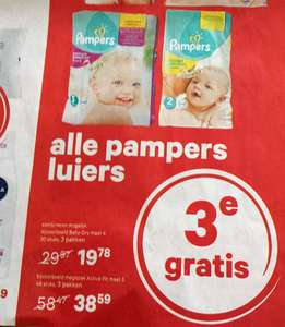 Alle Pampers luiers 3e GRATIS @ Etos