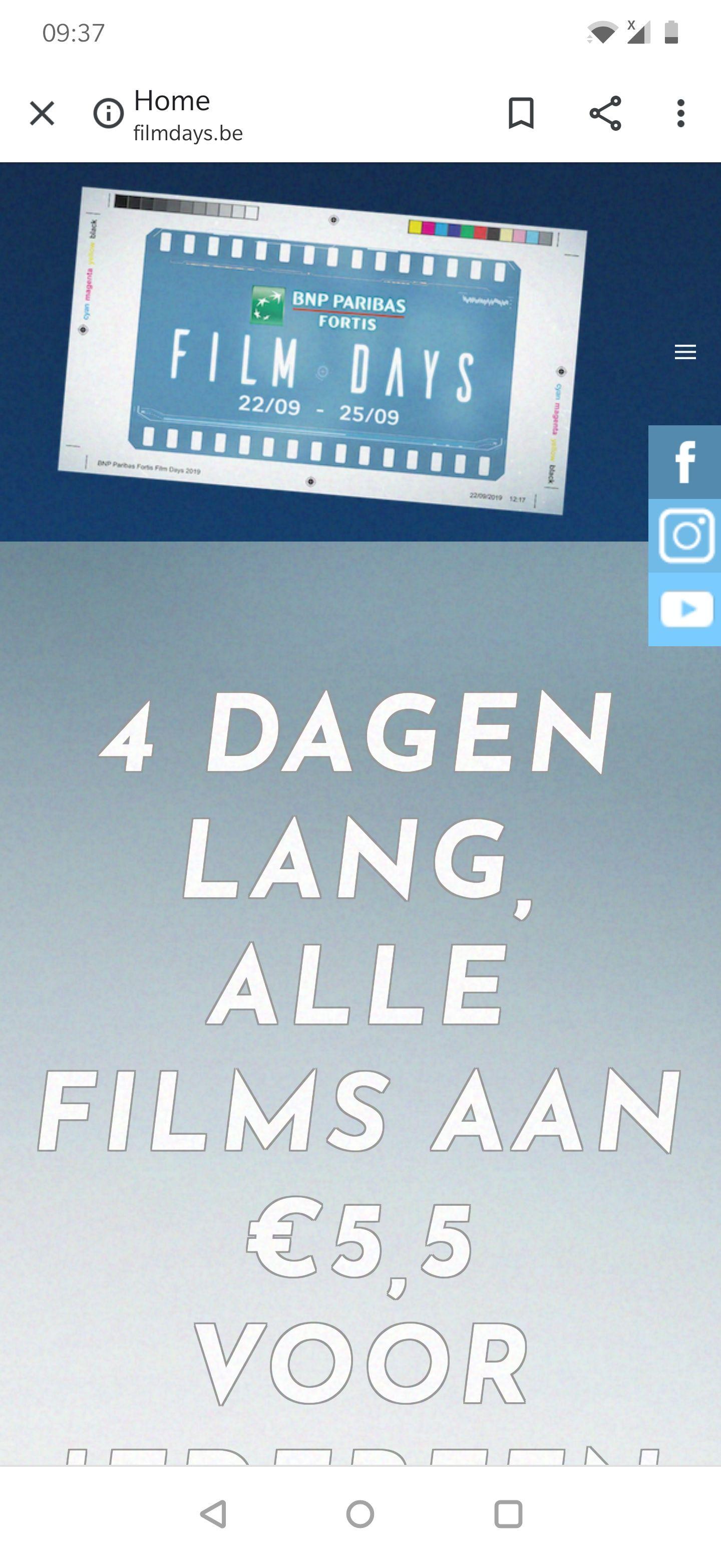 [GRENSDEAL BELGIË] Fortis film days, alle films in de bioscoop aan €5,50