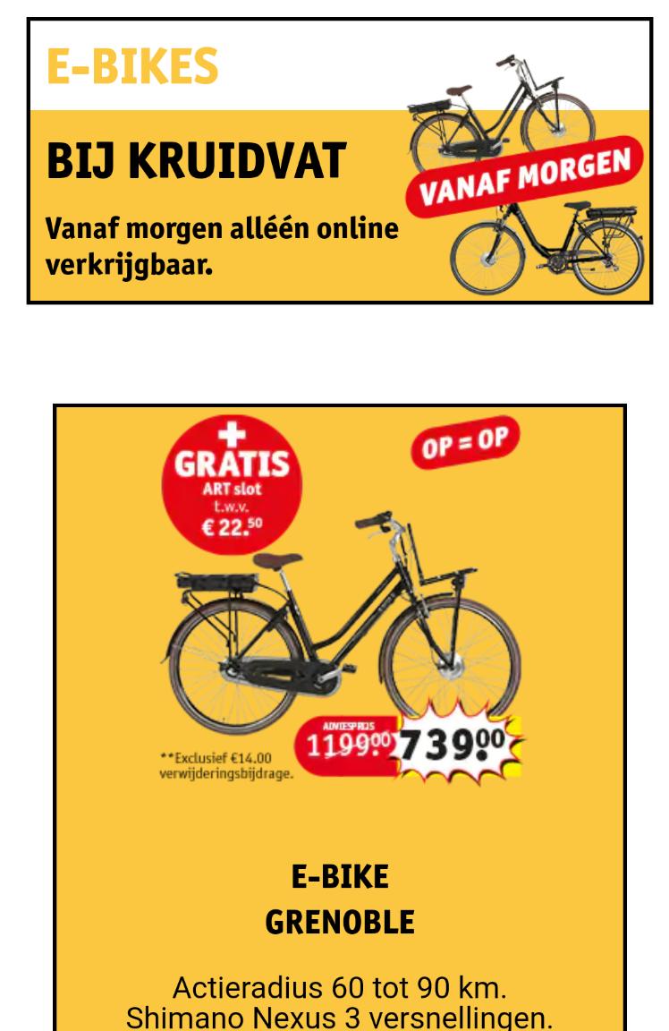Kruidvat: goedkope e-bikes, € 739 en € 777,-