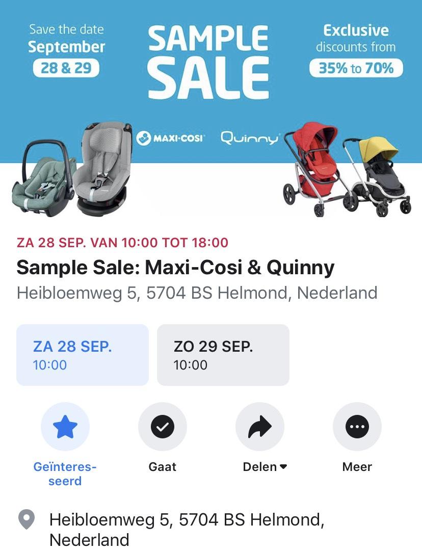 Sample Sale Maxi-Cosi en Quinny in Helmond