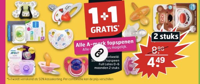 Alle a-merk fopspenen 1+1 gratis