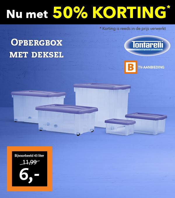 50% korting op Tontarelli opbergboxen in verschillende formaten @ Blokker