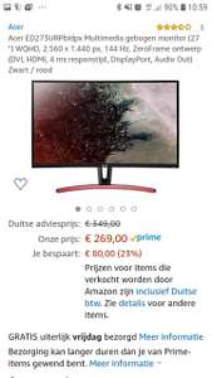 Acer ed273ur 27inch 1440p 144hz