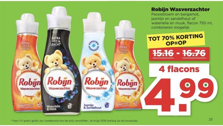 4x Robijn wasverzachter voor 4,99 Plus supermarkt