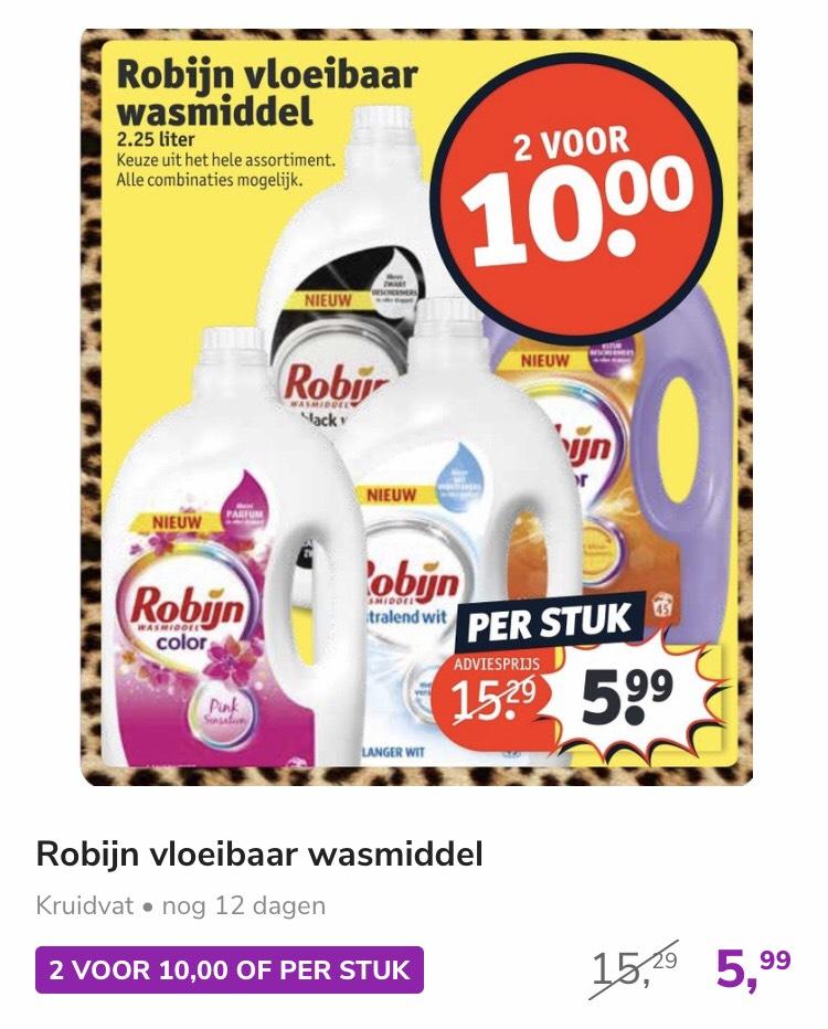 Twee grote flessen (45 wasbeurten) Robijn wasmiddel 10 euro @ Kruidvat