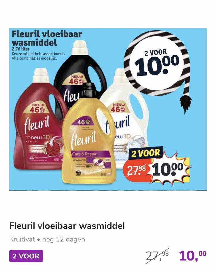 Fleuril vloeibaar wasmiddel 2 grote flessen (46 wasbeurten) voor 10 euro @ Kruidvat