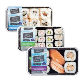 Sushi Keuze uit Sunakku-, Maki-, en Californiabox.42% korting bij Aldi volgende week.