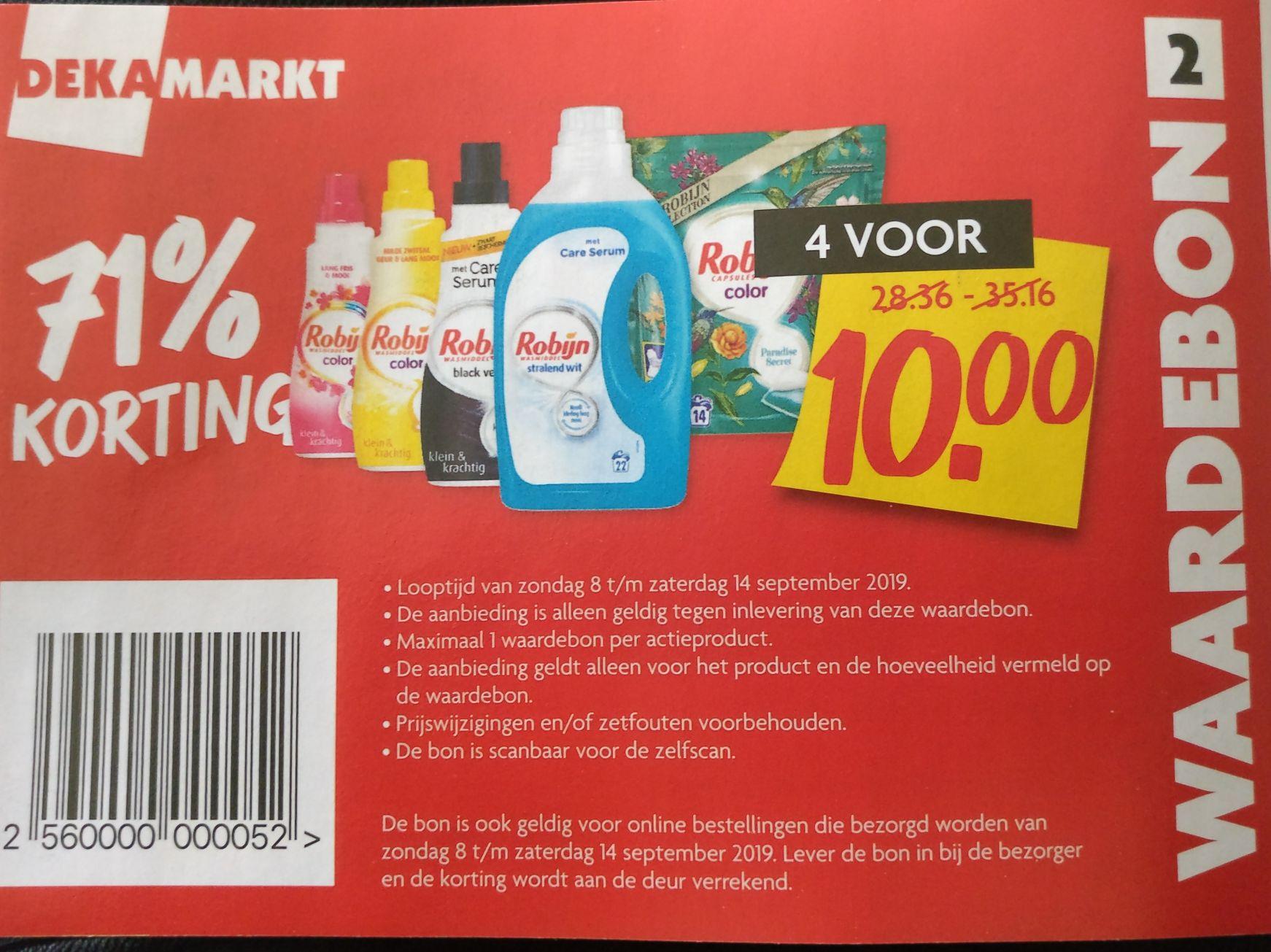 [Dekamarkt] Robijn wasmiddel (71% korting) - 4 stuks voor 10 euro