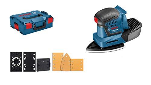 Bosch blauw GSS-10 18V schuurmachine zonder accu, met L-Boxx en 3 schuurzolen.