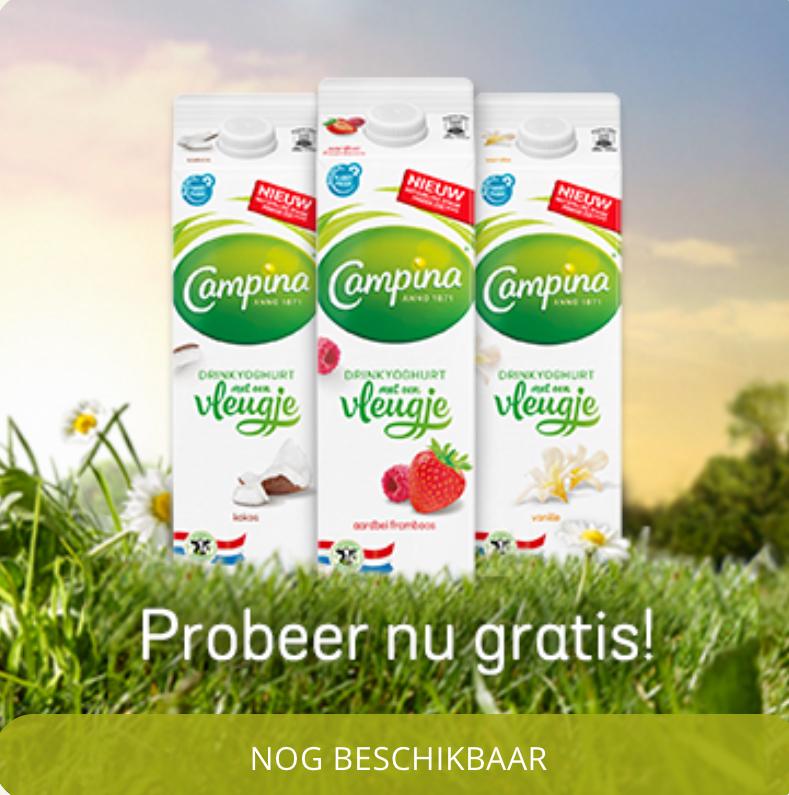 Probeer gratis een actieverpakking Campina Drinkyoghurt met vleugje @eurosparen