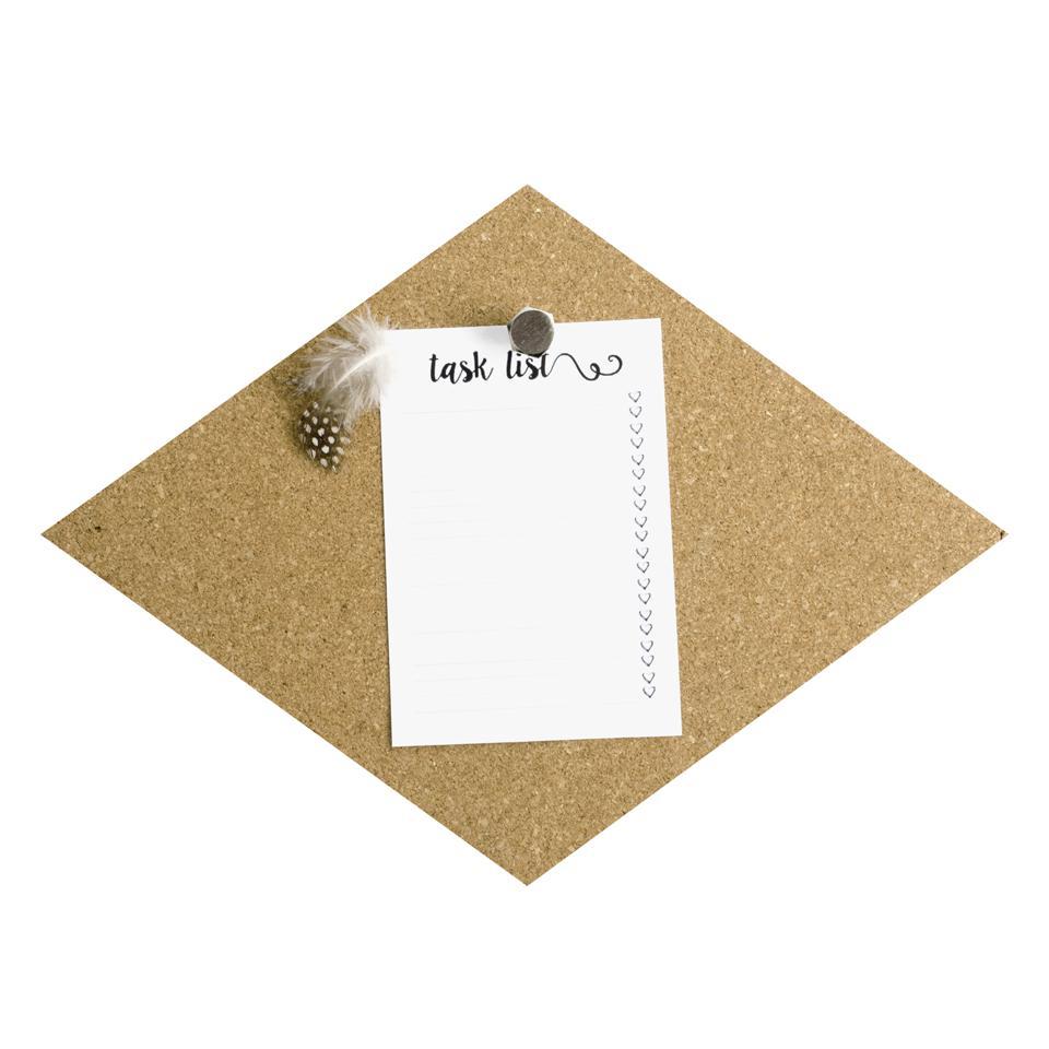 Dresz kurk prikbord - ruit vorm. Formaat: 29,2 x 21,6 x 0,7 cm. Blokker
