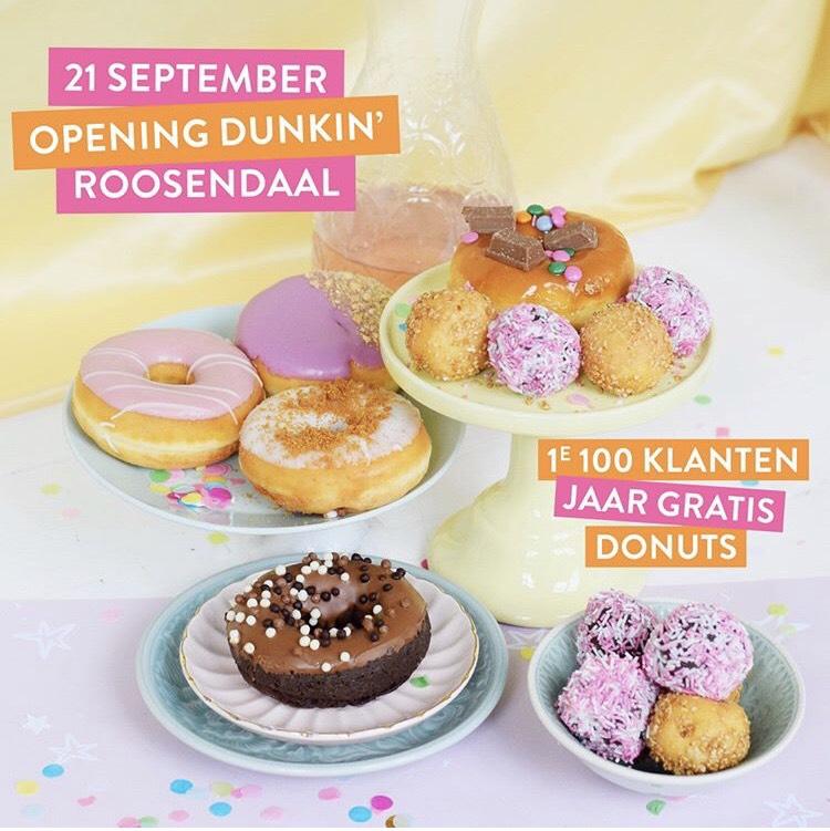1 jaar gratis Donuts bij opening Dunkin' Roosendaal