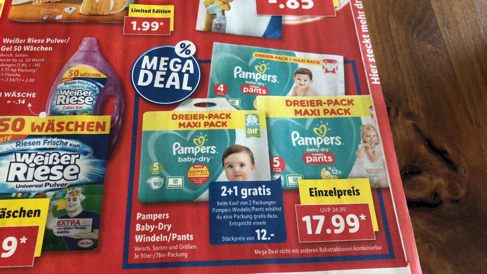 [Grensdeal] {Lidl} Pampers Baby Dry 3 pakken (78/90st) voor €35,98