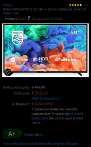 Philips 50PUS6203, 126 cm (50 inch) (Ultra HD, Smart TV)