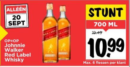 Johnnie Walker Red Label Whisky 70 cl @Vomar
