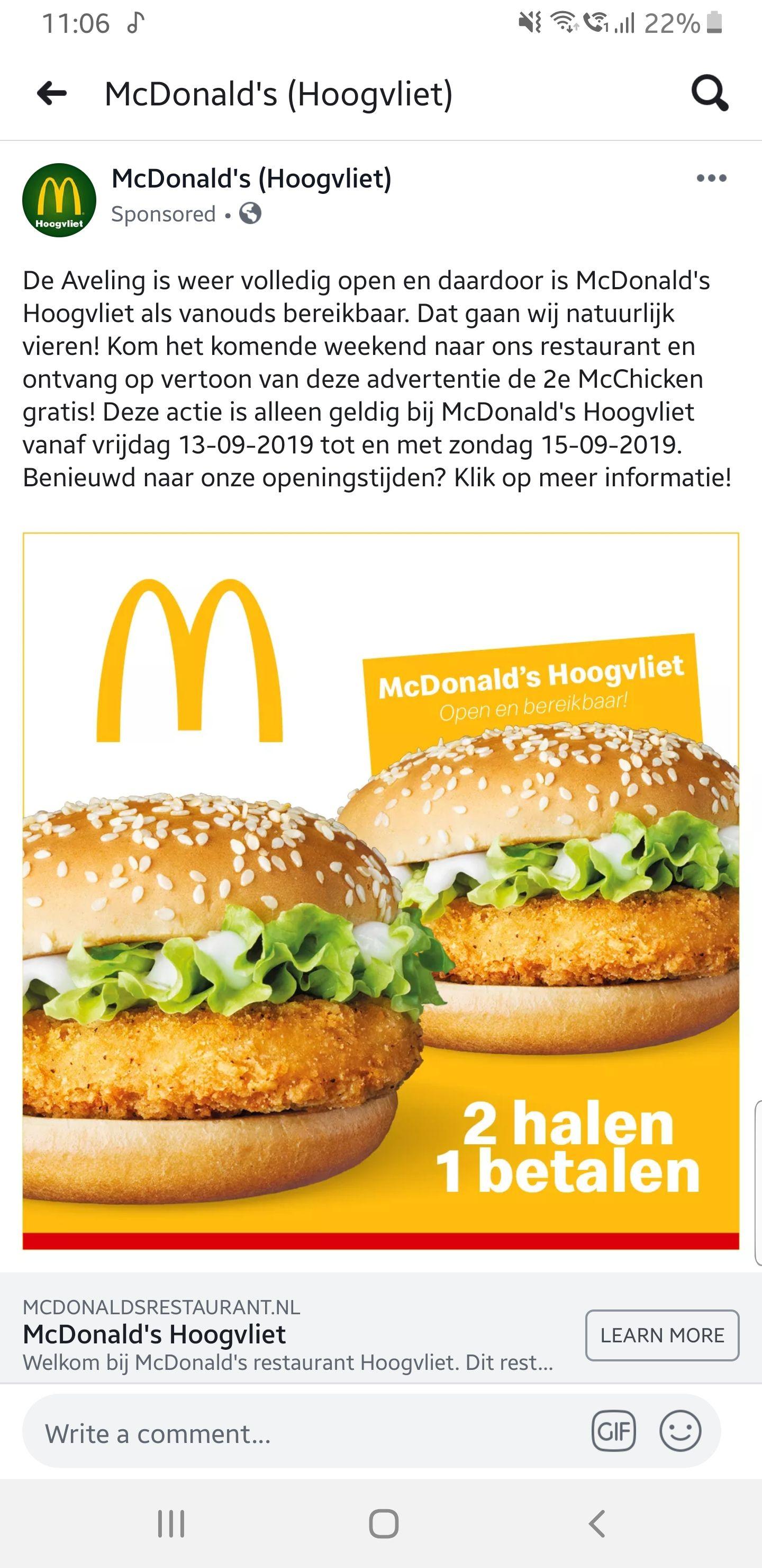 2 halen 1 betalen bij McDonalds Hoogvliet(Lokaal)
