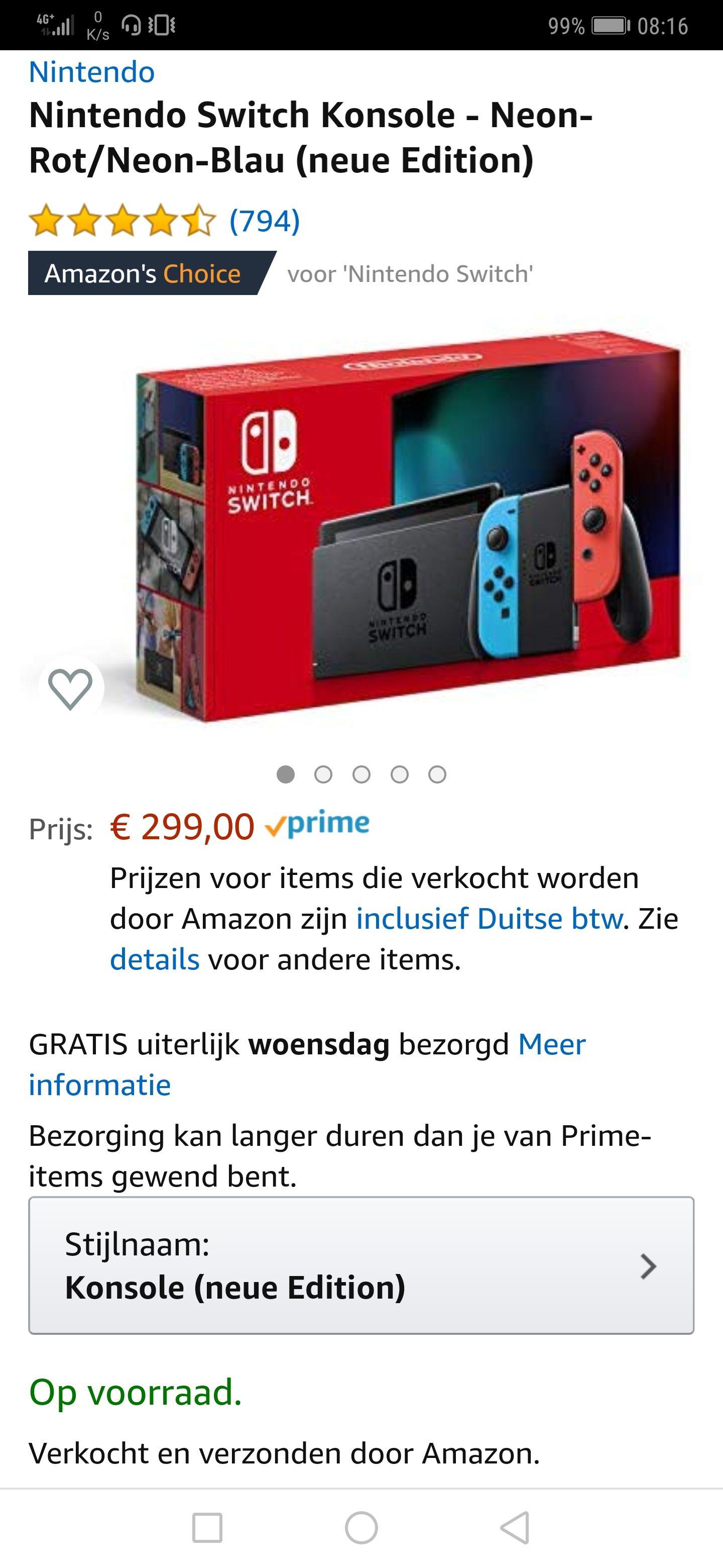 Nintendo Switch 2019 rood/blauw editie voor 299 euro bij Amazon.de