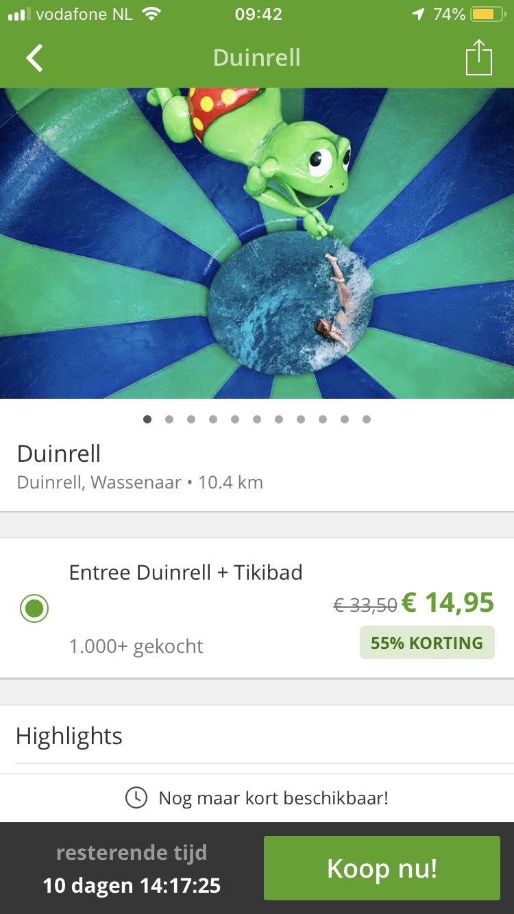 Entreeticket voor Attractiepark Duinrell Inclusief eenmalig onbeperkt toegang tot het Tikibad