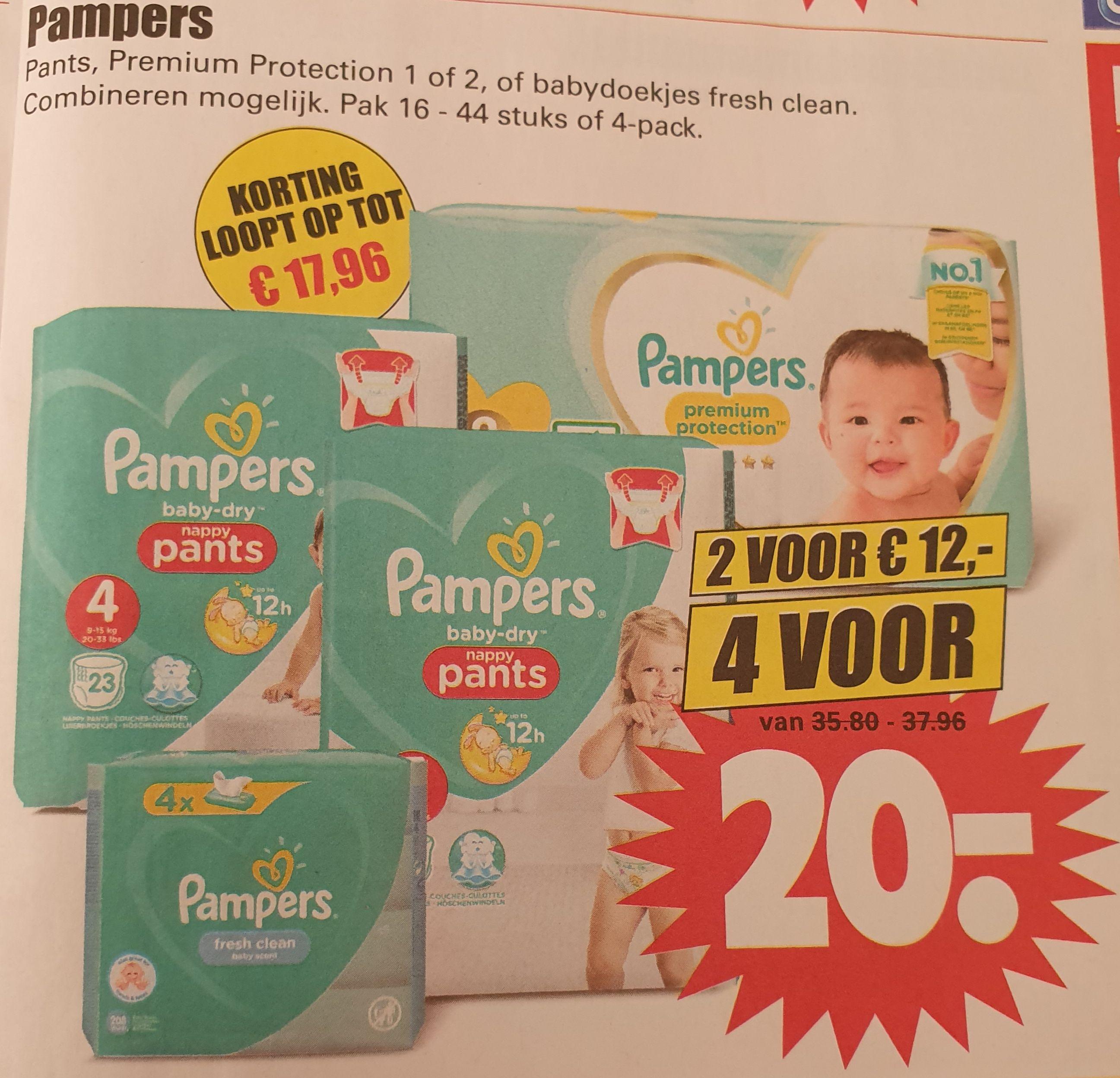 Pampers 4 voor 20 euro bij Dirk