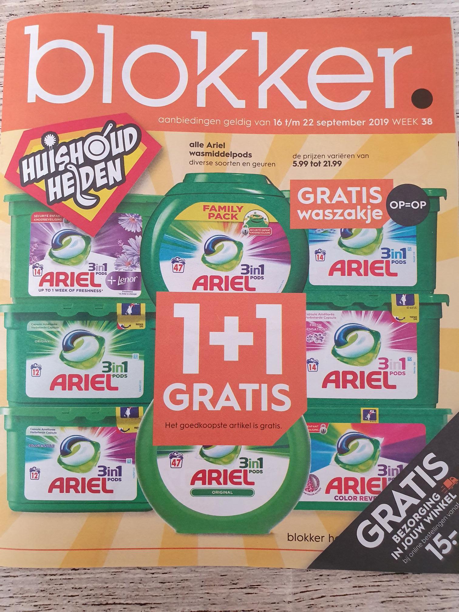 Arielpods 1+1 gratis bij Blokker