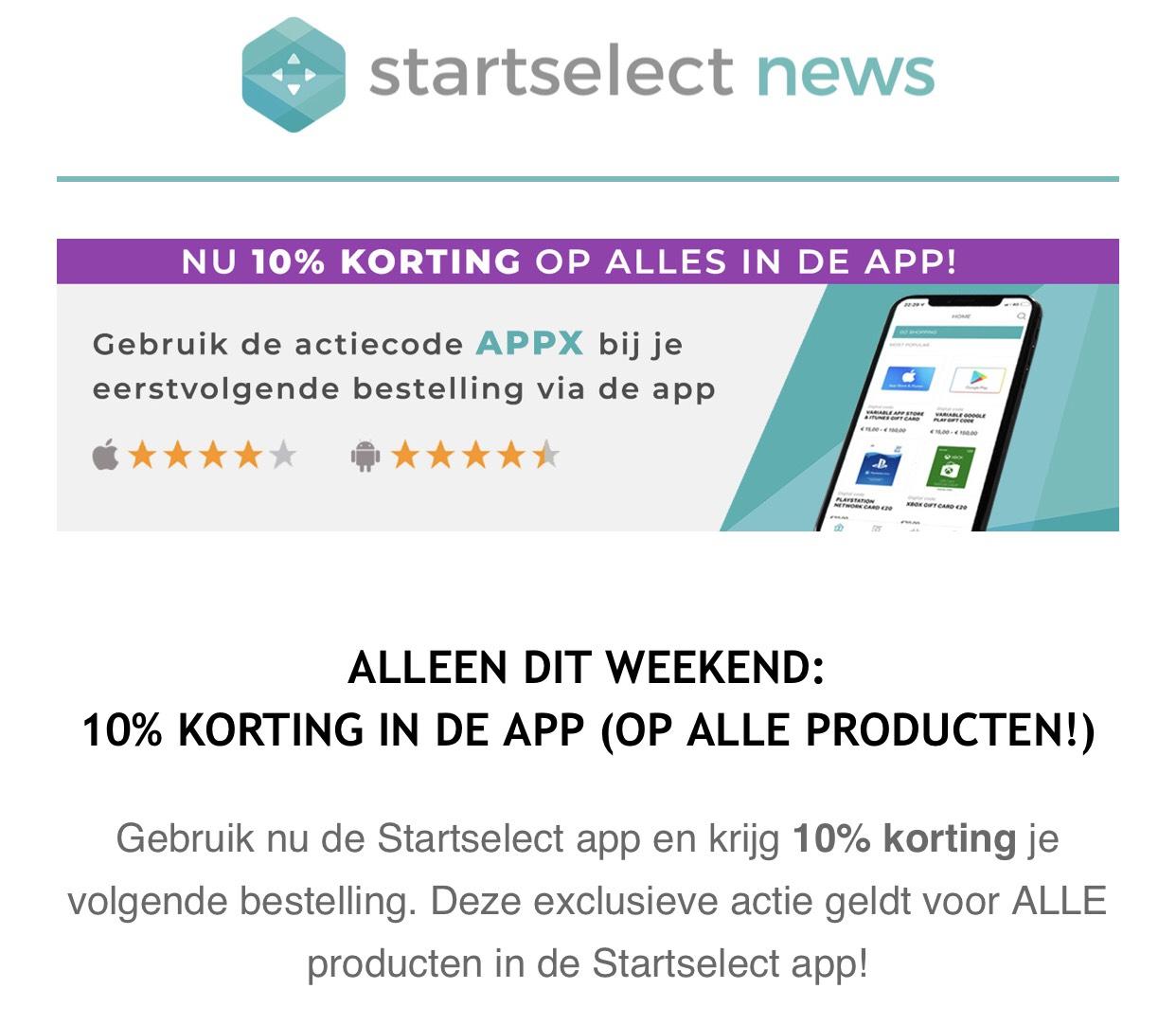 Bij bestelling via app 10% korting - Starselect