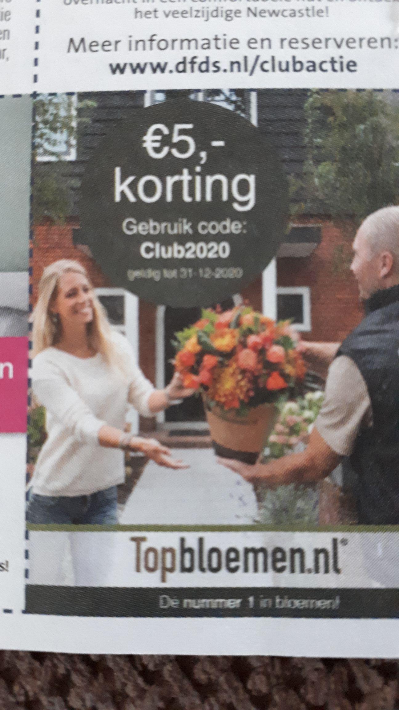 5 euro korting op Topbloemen.nl
