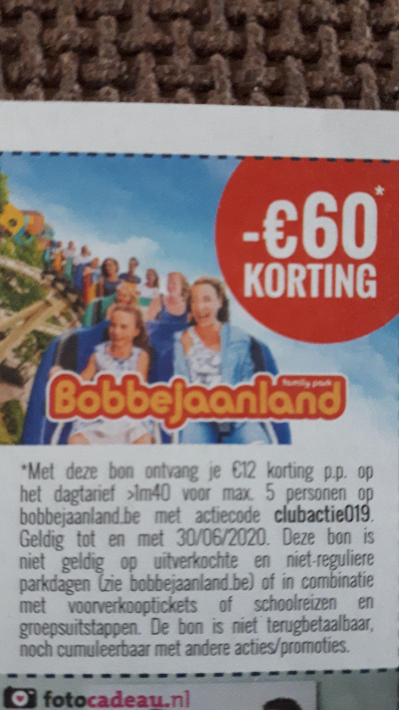 €12,- pp korting op Bobbejaanland