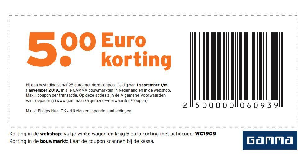 €5 korting bij besteding van €25 bij Gamma NL