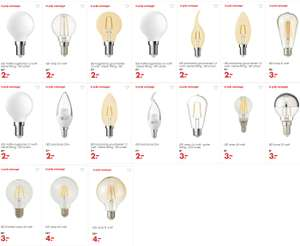 Diverse LED-lampen €2 - €4 (ook filament - was €6,50 - €12,50) @ HEMA