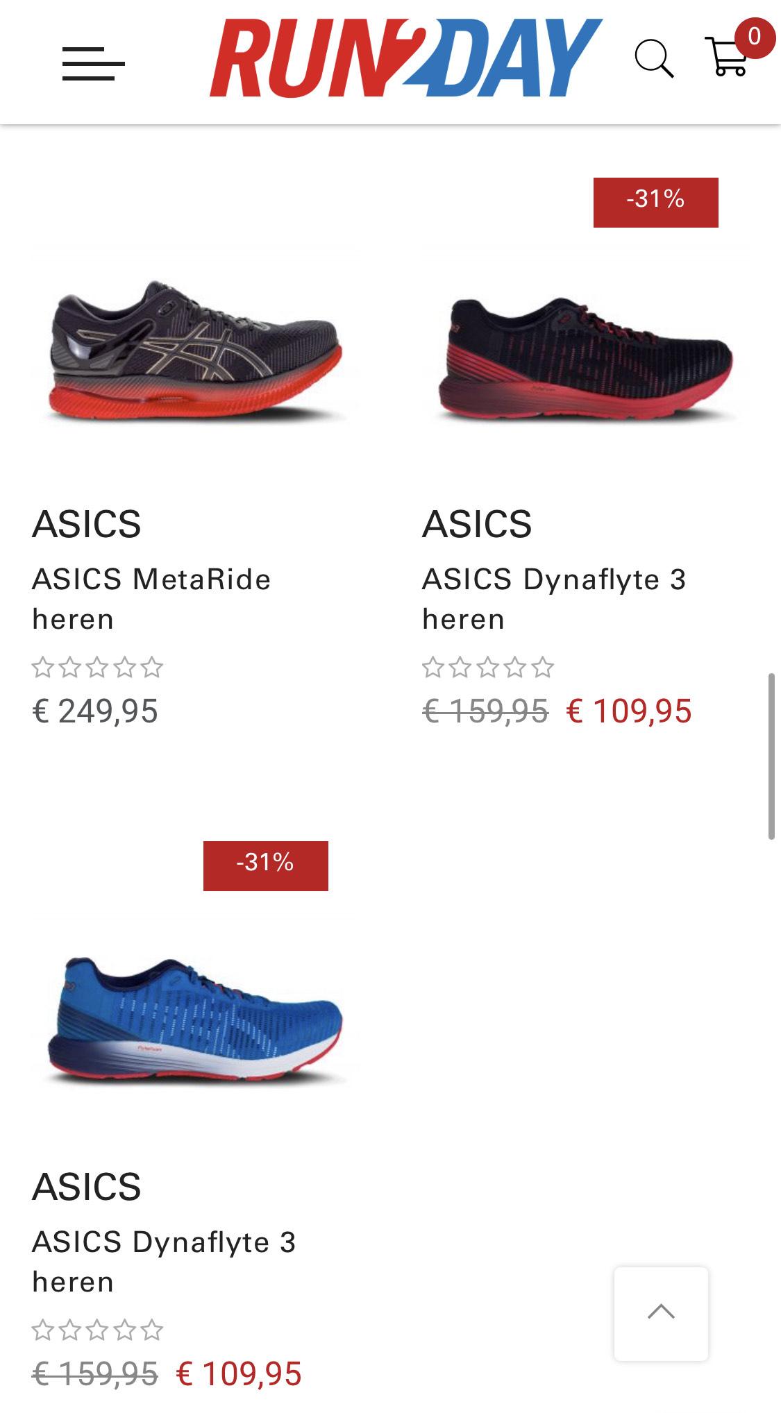€20,- korting op Asics hardloopschoenen