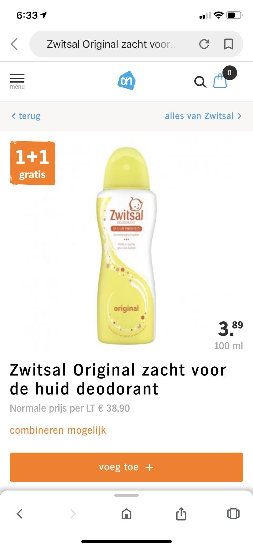 1 + 1 gratis Zwitsal deodorant @AH