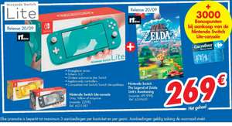 [Grensdeal België] Nintendo Switch Lite + nieuwe Zelda + €30 aan boodschappen