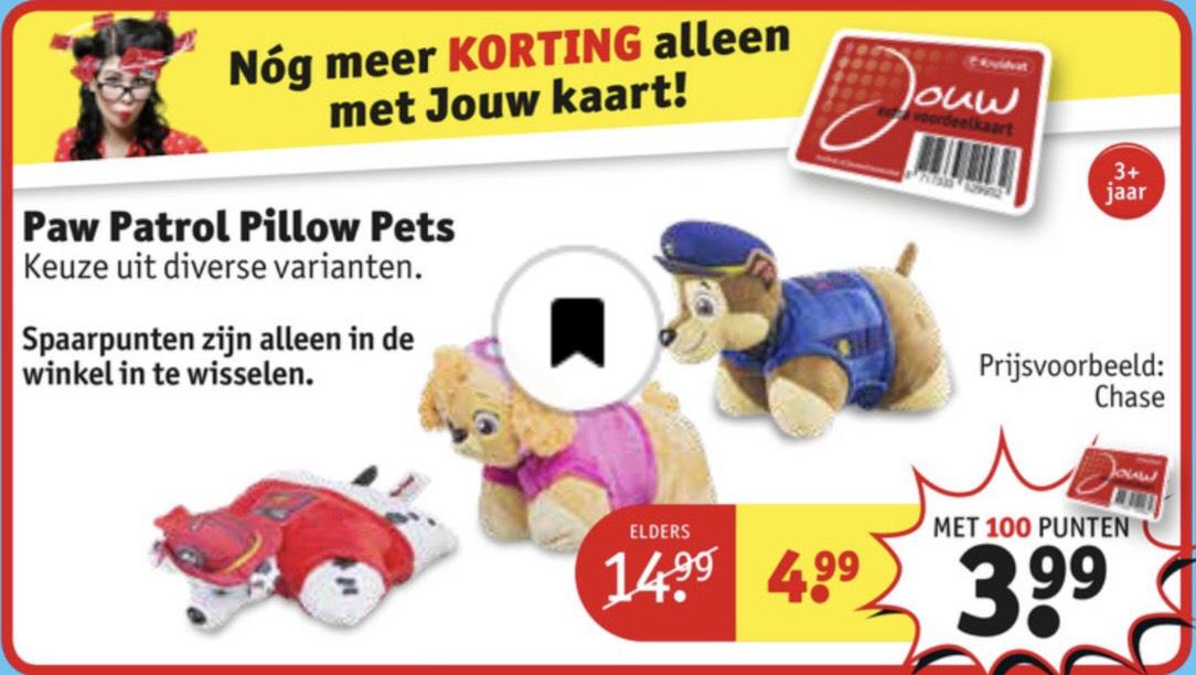 Knuffelkussens Paw Patrol €3.99 bij inleveren 100 punten in de winkel anders €4.99 @ Kruidvat