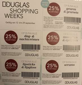Douglas shopping weeks 25% op geuren/sets - cremes - lipstick/gloss - mascara