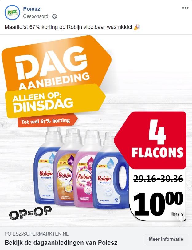 Poiesz dagaanbieding (alleen dinsdag) 4x 1100 ml Robijn voor 10 euro