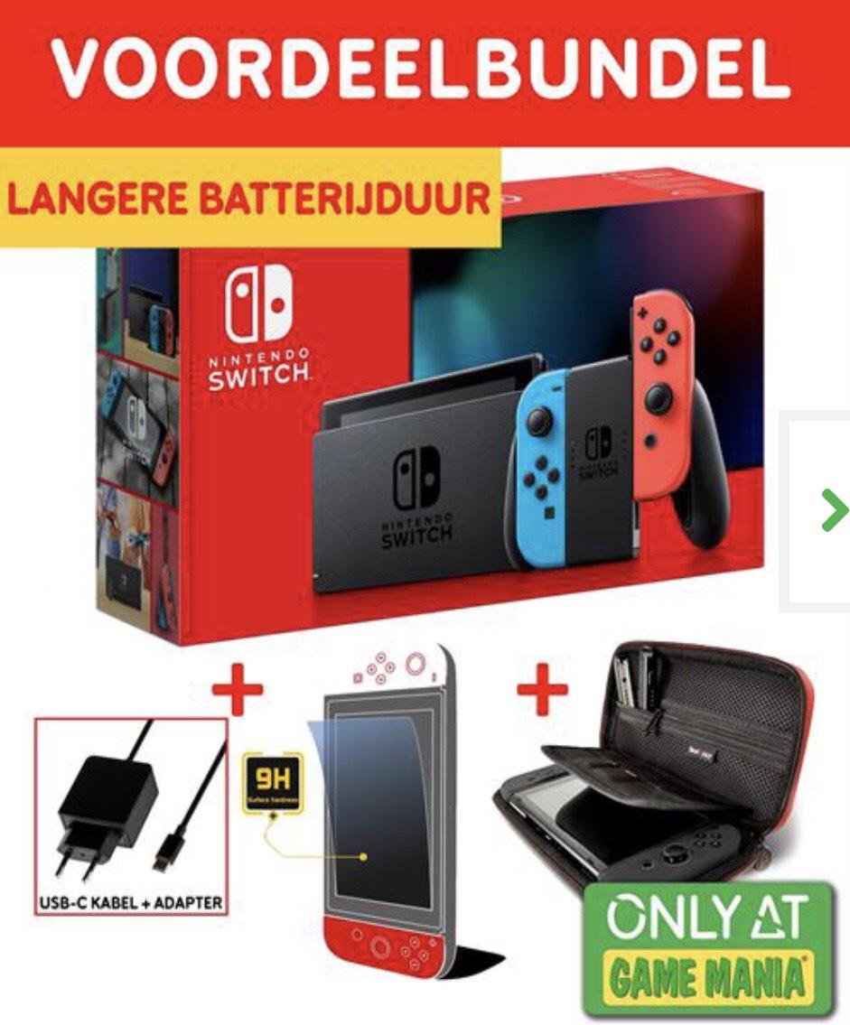 €329   Nintendo Switch (2nd Gen.) Neon Blue & Red Bundel (adapter+screenprotector+case) @Gamemania