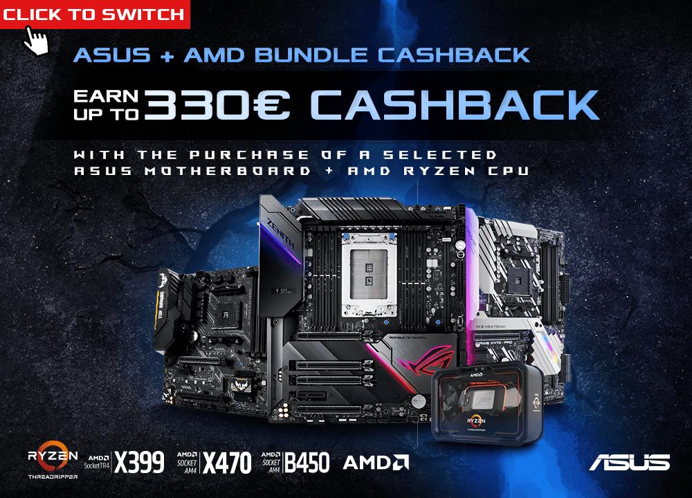 Tot € 330 cashback bij AMD-processor + ASUS-moederbord bundel