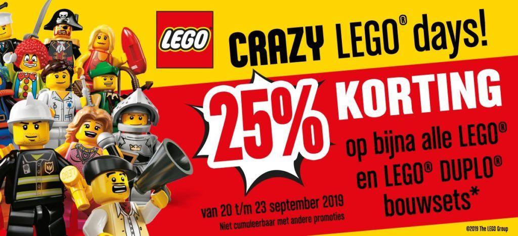 Crazy lego days 25% korting op veel Lego