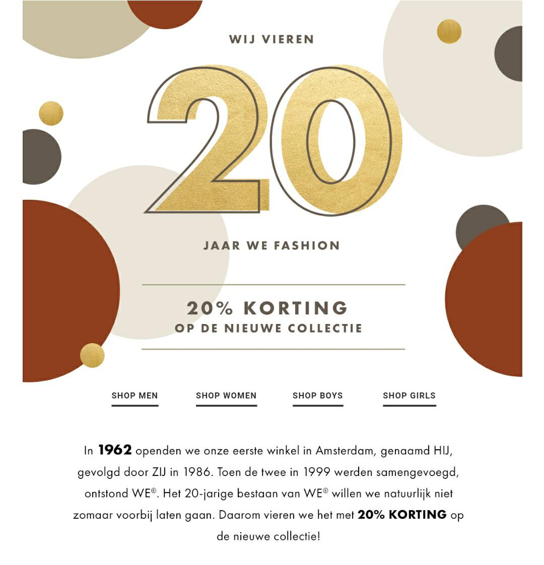 WE Fasion 20% korting op nieuwe collectie