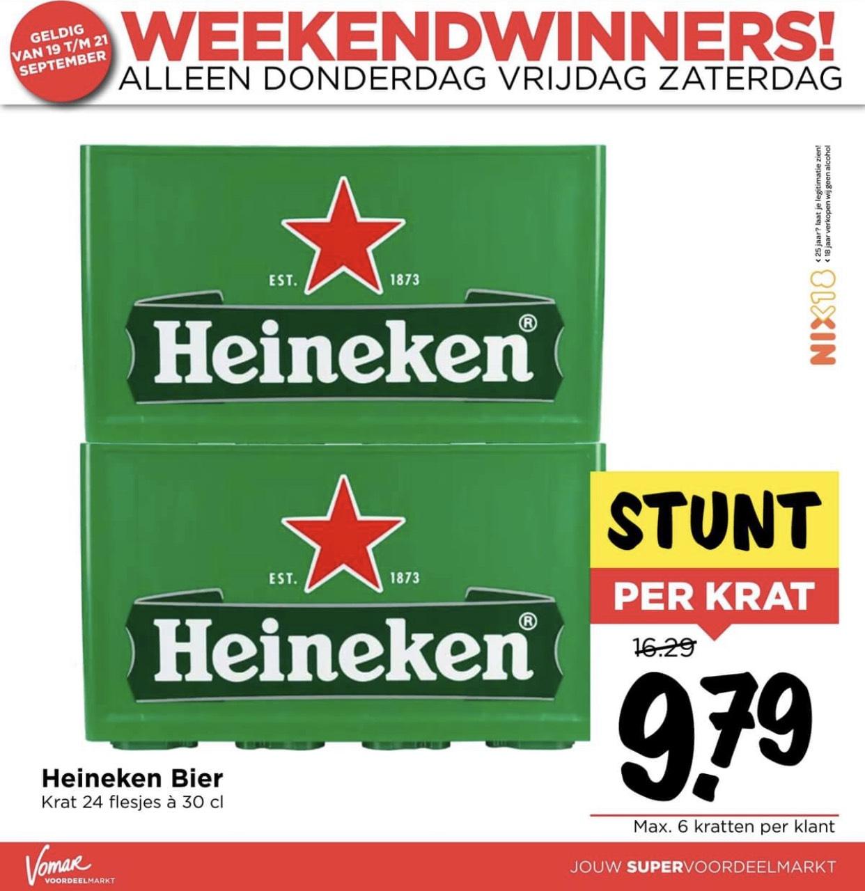 Heineken 9,79 ipv 16,29 @Vomar alleen dit weekend!