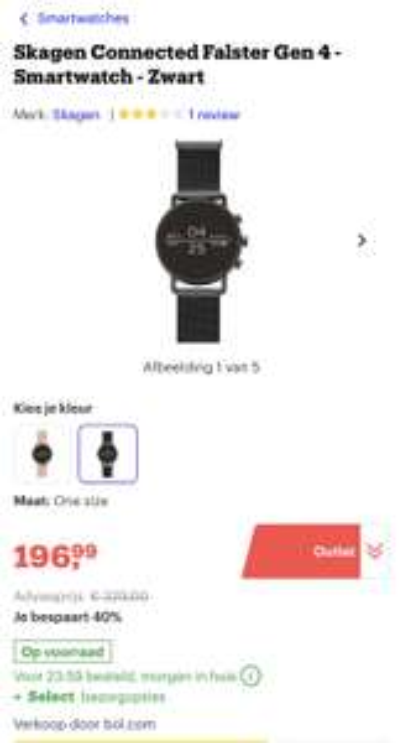 200€ ipv 300€ Skagen Connected Falster Gen 4 - Smartwatch - Zwart - bol.com outlet