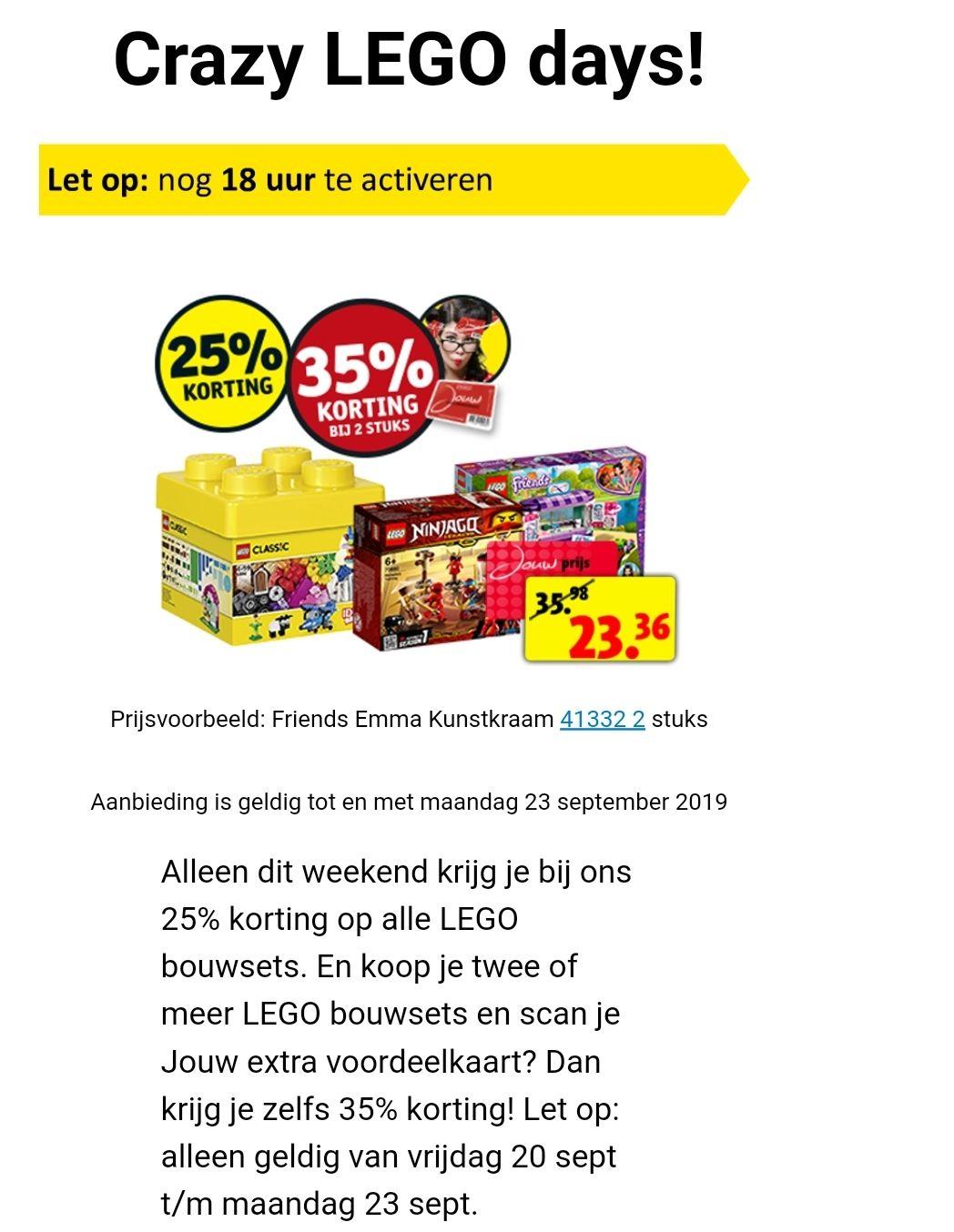 35% extra korting op Lego @Kruidvat bij 2 artikelen