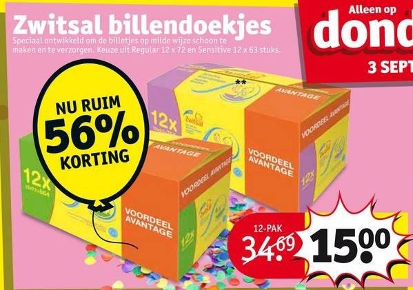 Kruidvat billendoekjes 12-pack voor €11,99 (2 voor €20) / Zwitsal billendoekjes morgen 56% korting @ Kruidvat