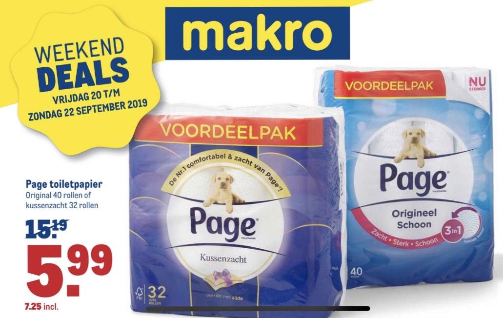 Page toiletpapier original 40 rollen voor €7,25