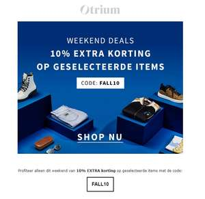 10% extra korting bij Otrium met kortingscode (alleen dit weekend)
