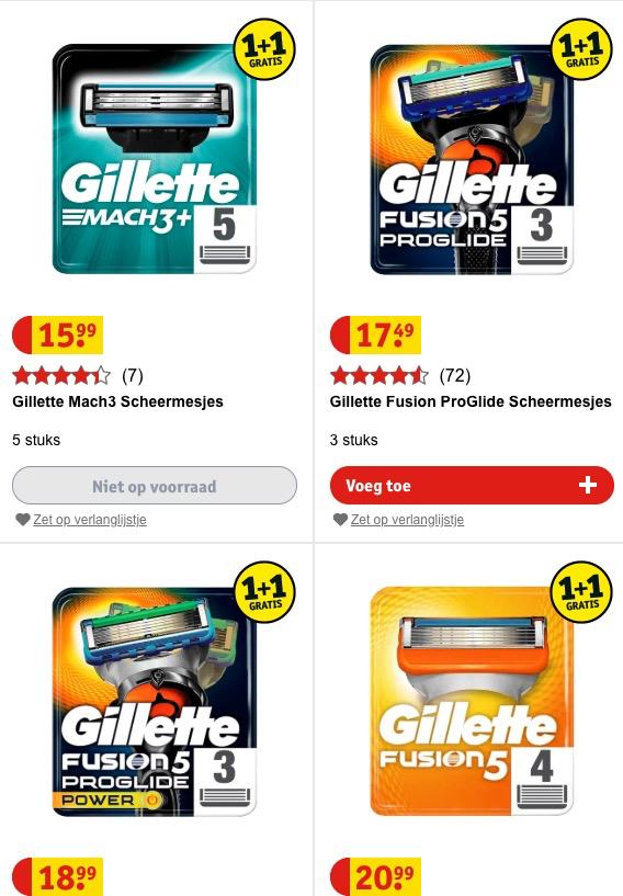 Gilette mesjes 1 + 1 gratis of 50% korting